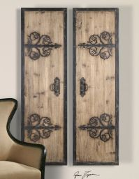 2 XL Decorative Rustic Wood & Wrought Iron Wall Art Panels ...