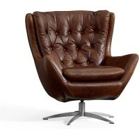 Pottery Barn Wells Leather Armchair ($1,299) liked on