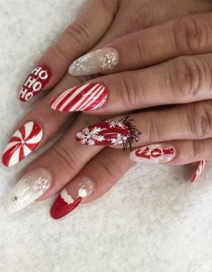 Christmas themed stiletto nail art design acrylic nails ideas de unas pinterest xmas and inspo also rh