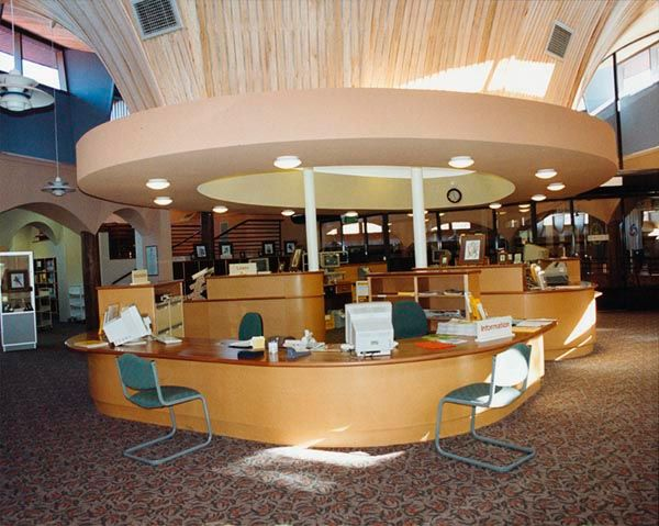 library design  1994 Eltham Library circulation desk  library  Pinterest  Library design and