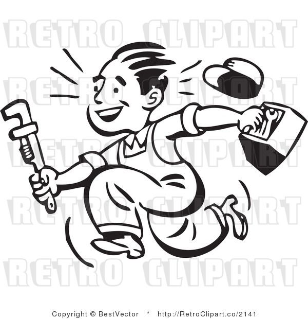 Retro clipart of smiling plumber guy running with toolbox