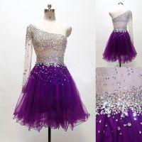purple Homecoming dress,Short prom Dress,one shoulder Prom ...