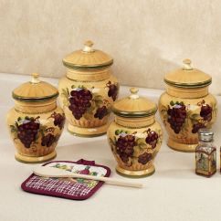Grape Decor For Kitchen 60 40 Sink Handpainted Grapes Canister Set Canisters