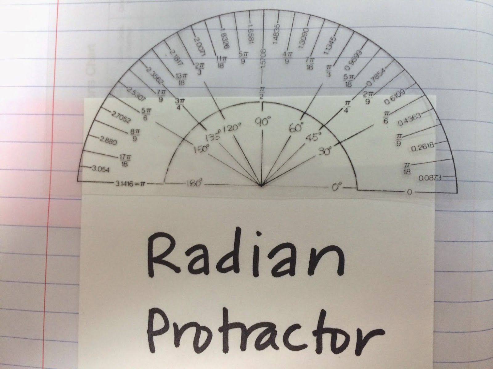Radian Protractor Printed On Transparency To Put In Interactive Notebook