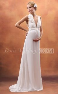 Backless Deep V-Neck Empire Maternity Dress With Flower ...