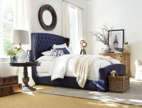 Naples Upholstered Bed (Navy Blue)