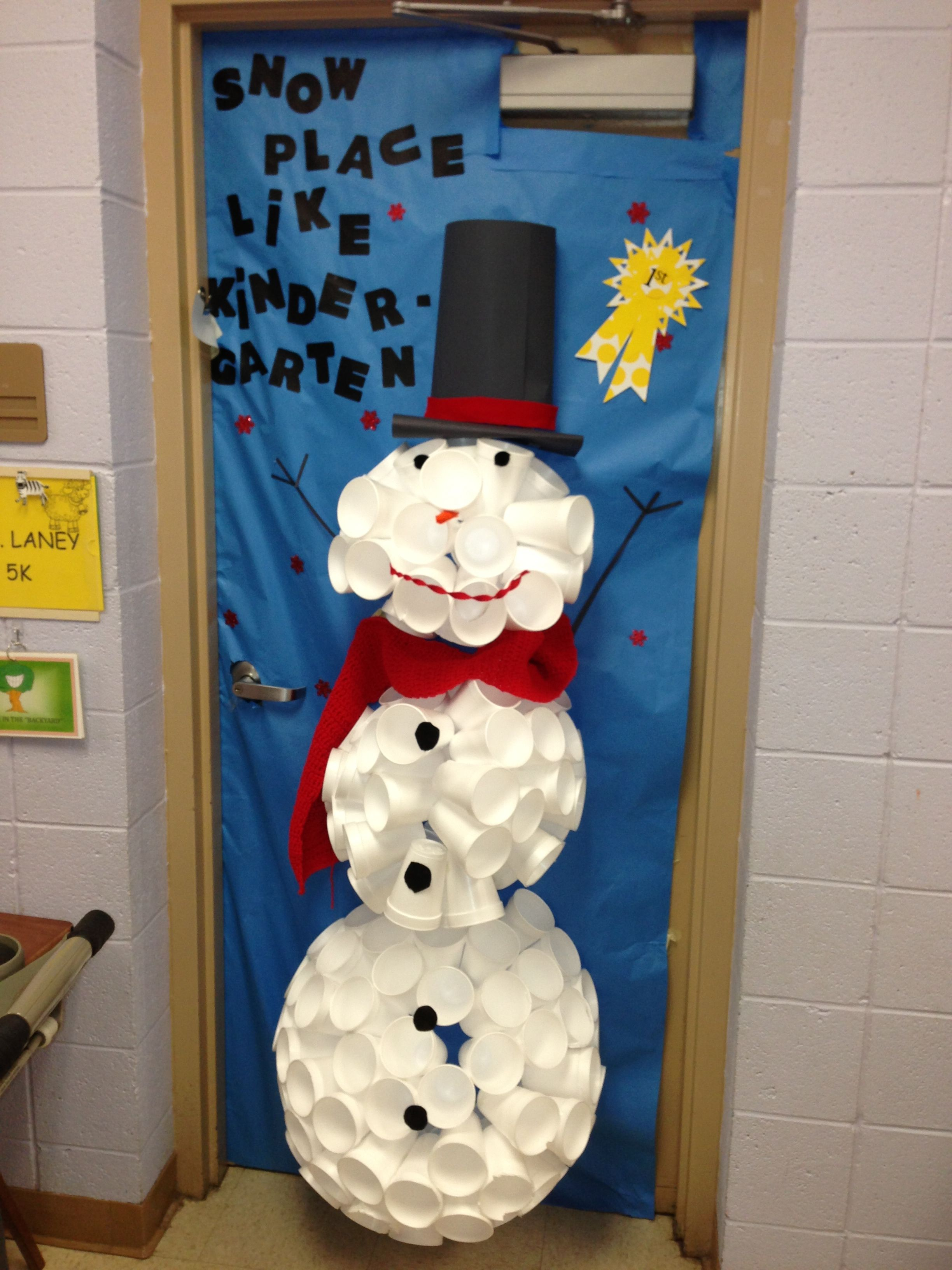 Snowman door decoration made from styrofoam cups, too cute