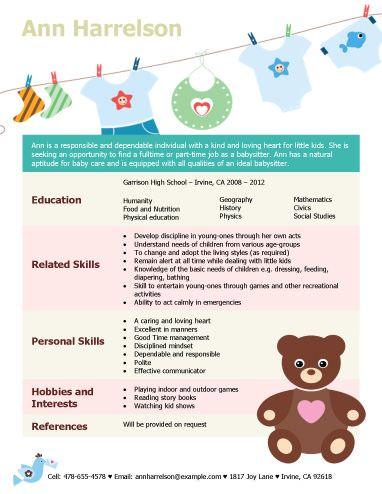 Babysitting Resume Examples
