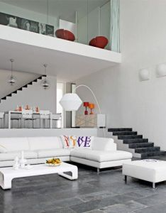 Living room contemporary design with sofa by roche bobois spacious loft house interior decor furnished white also modern para el depto pinterest lofts and rh