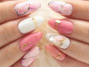 pink marble nails love