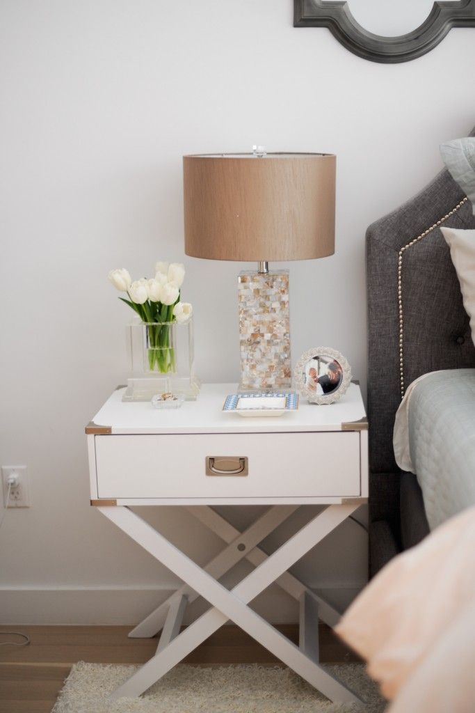Inspire Q Neo White Accent Table with X Leg Nightstand Marshalls Lamps Crystal Vase C Wonder