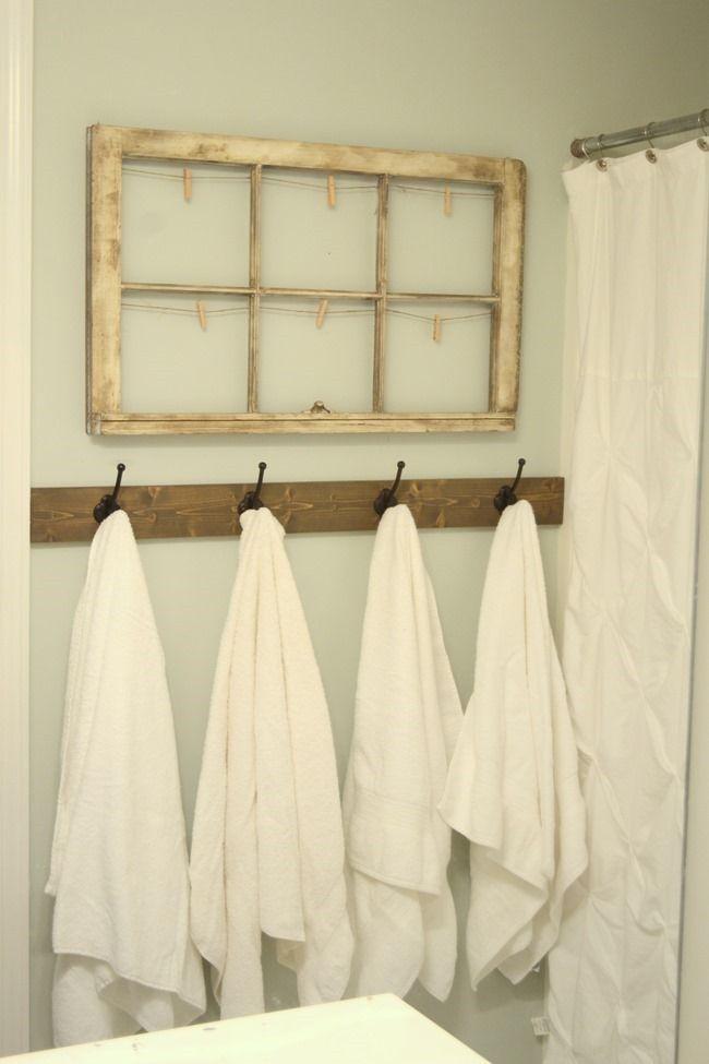 Rustic towel hooks in Guest Bathroom  Decor  Pinterest