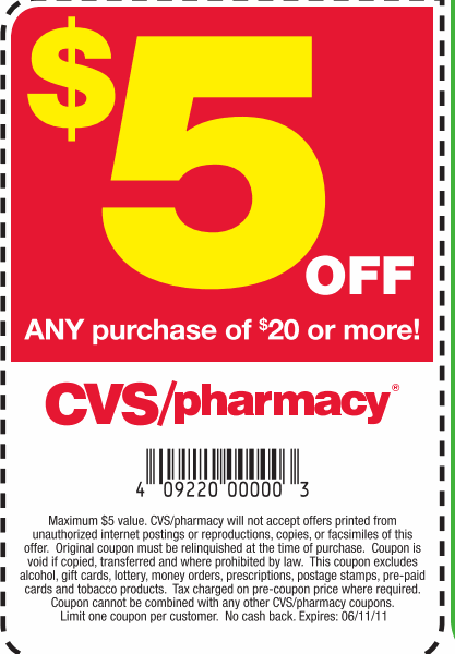 Hot 5 Off 20 CVS Coupon  More Coupons Printable