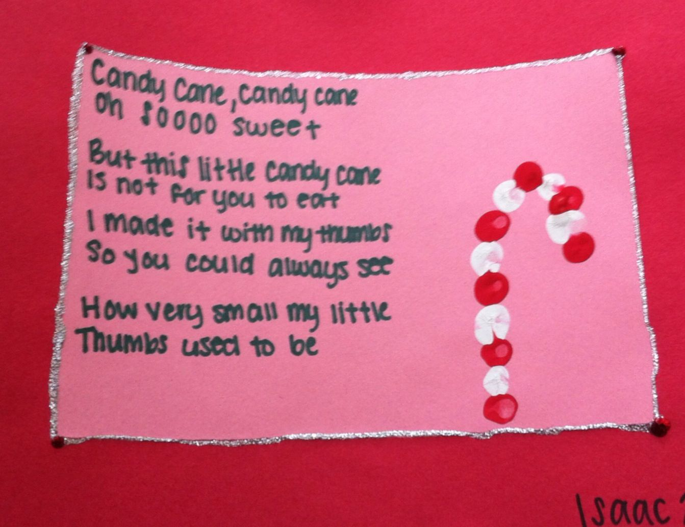 Candy Cane Poem Red And White Thumbprints Construction Paper Glitter Glue Candycane