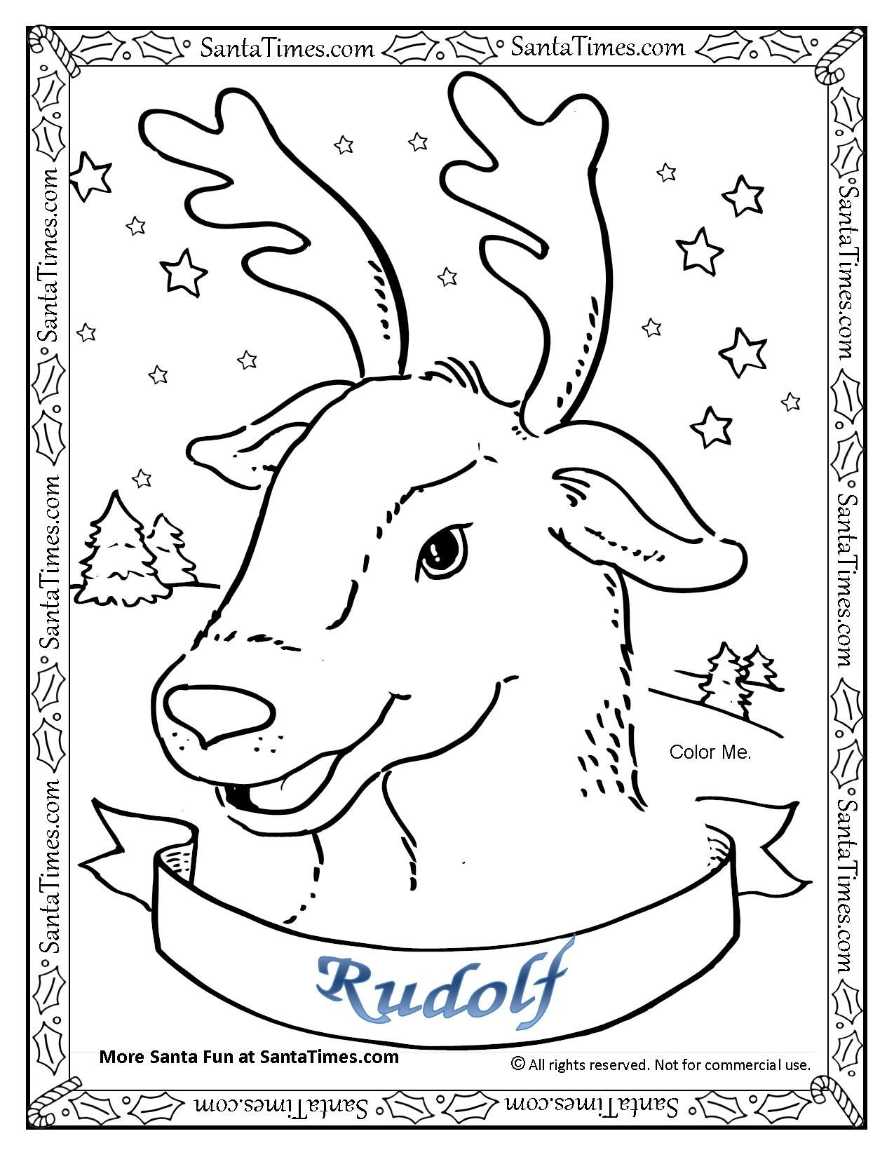 Rudolf The Red Nosed Reindeer Coloring Page Printout More