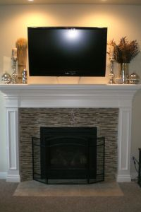 Mosaic tile fireplace decorated for Fall. http ...