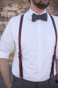 His groomsmen. Bow ties - tiebar.com Leather suspenders ...