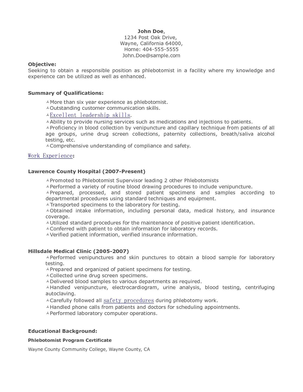 Phlebotomist Resume Samples Resume Objectives For A Phlebotomist Sample Phlebotomist