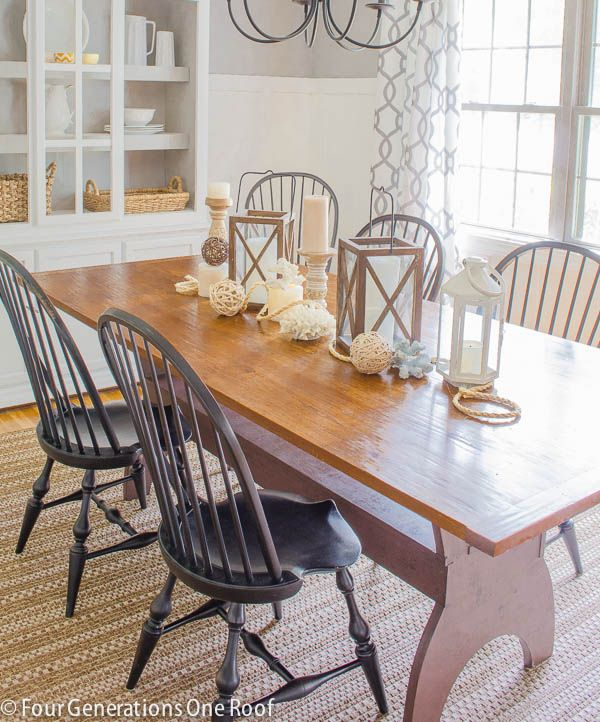 Summer Dining Table Decor Summer Dining Room Update | Natural Wood Table, White