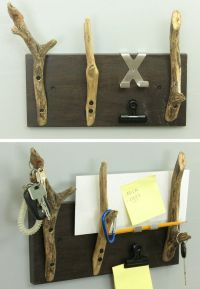 Modern rustic sculptural driftwood key holder by
