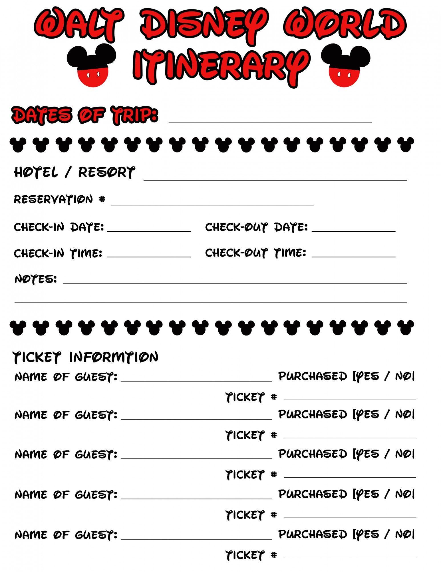 Disney Agenda Amp Itinerary Free Printable