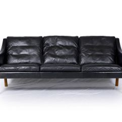 Borge Mogensen Sofa Model 2209 Mexican Three Seat Leather Sofas