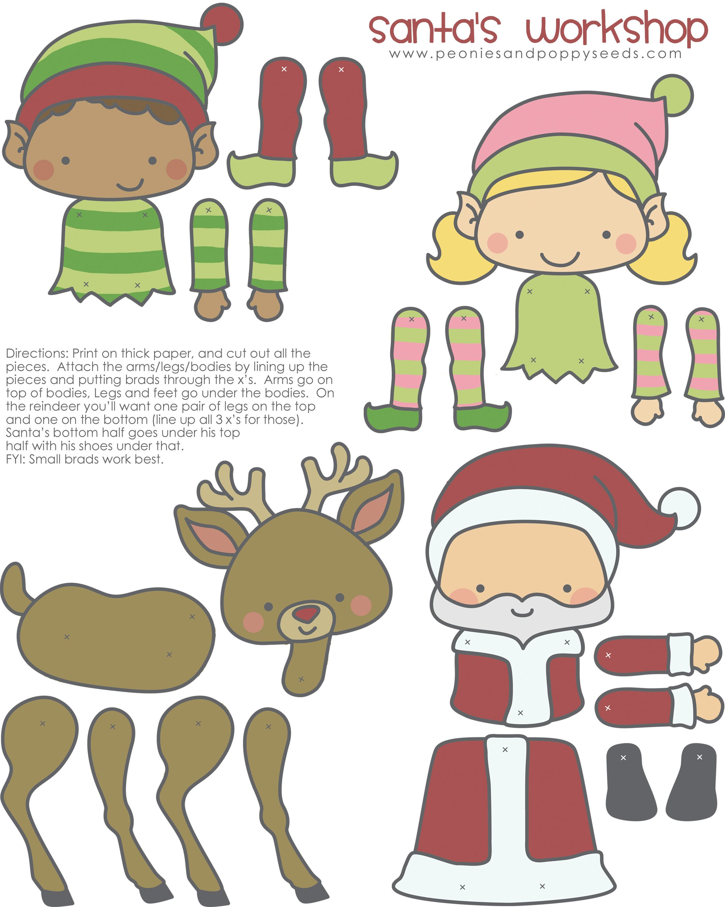 Christmas Characters Just Add Split Pins