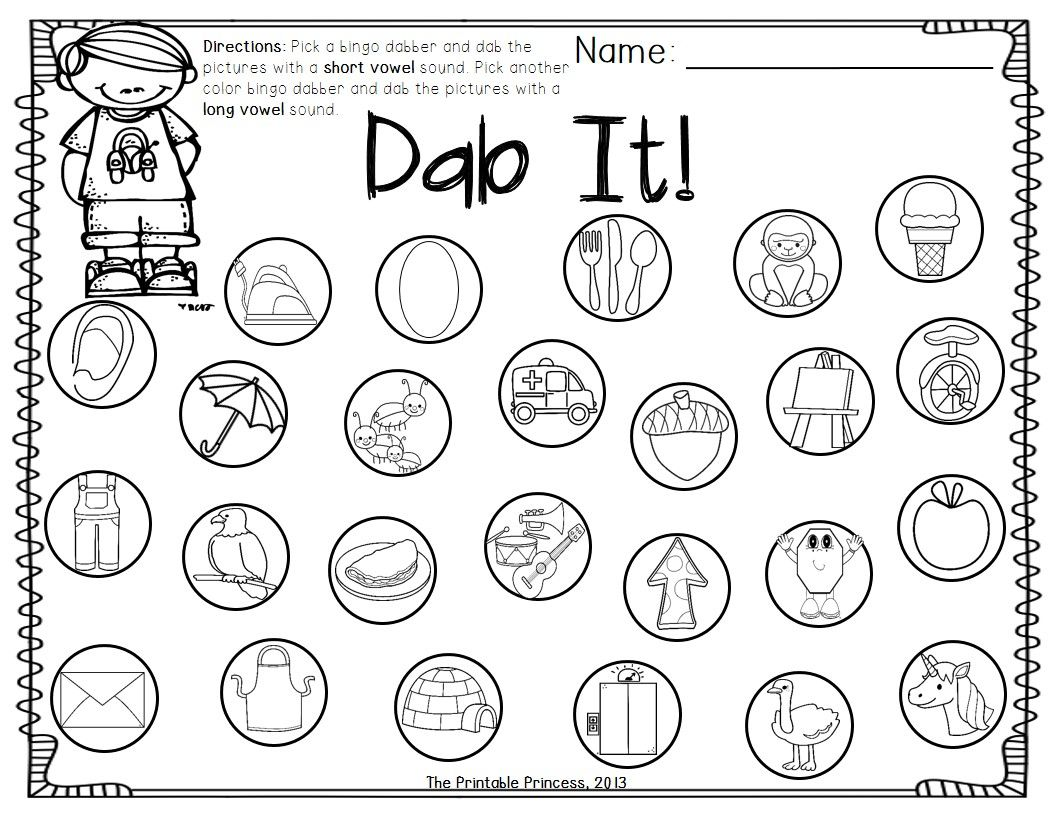Kindergarten Literacy Centers {Using Bingo Dabbers