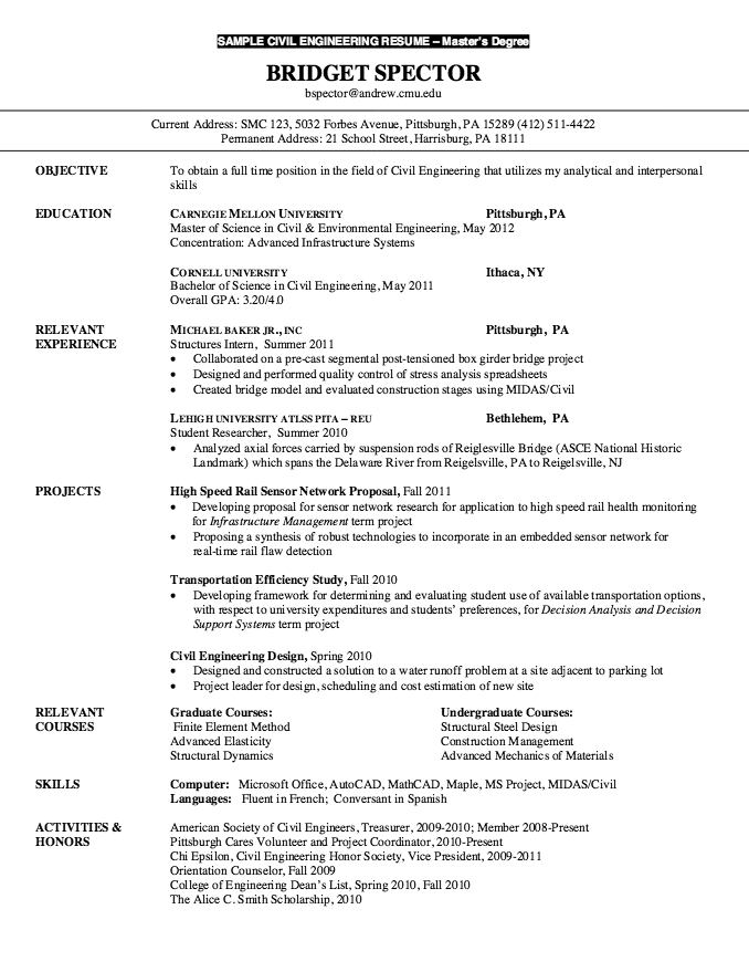Resume For Master Degree Civil Engineering Resumesdesign