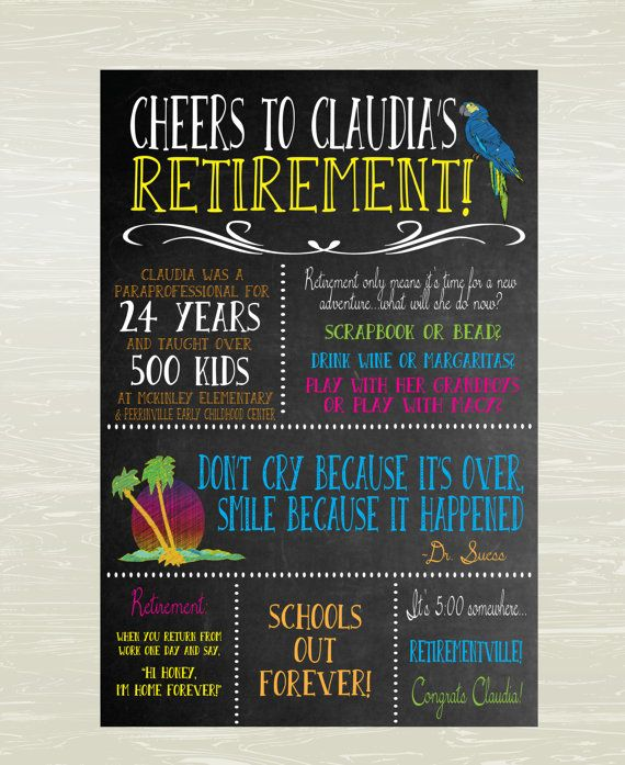 Retirement Poster, Margaritaville Theme; Digital Or