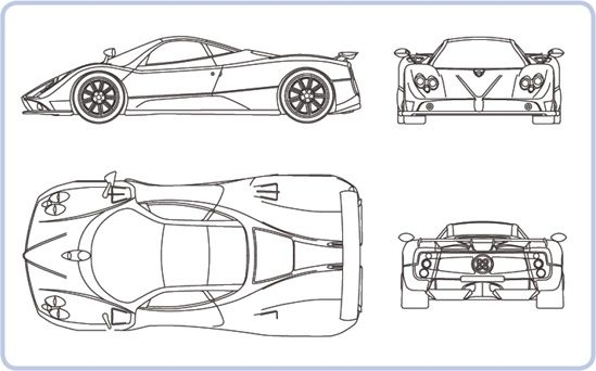 A typical blueprint showing the Pagani Zonda C12 F sports