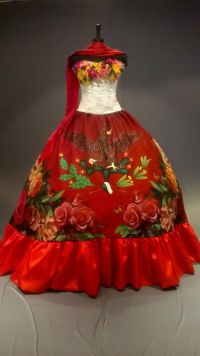 Mexican Quinceaera Dress. Frida Kahlo Inspired by