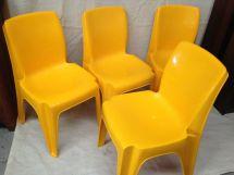 Vintage 4 X Sebel Integra Mk 2 Chairs Bright Yellow Modern