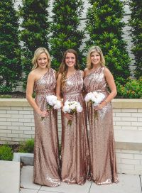 @shoprevelry floor-length rose gold sequined bridesmaid ...