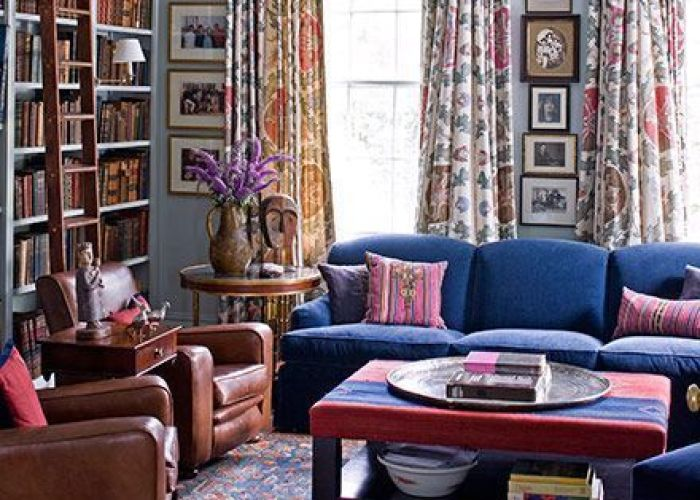Room of the day drapes royal blue sofa and like vertical stack art in this colorful library mona hajj design also by living sitting rooms pinterest pattern
