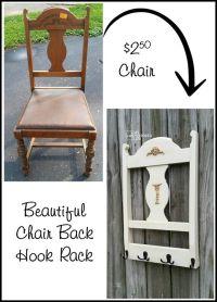 Repurposed Chair Back Coat Rack | Hook rack, Coat racks ...