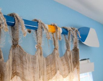 Custom Nautical Painted Oar Decorative Window Curtain Rod Valance