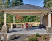 Love the stone design at the base of the patio cover ...