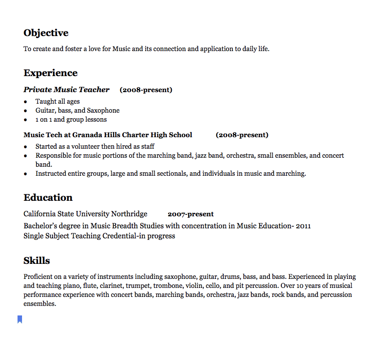 Music Teacher Resume Examples Objective To Create And Foster A
