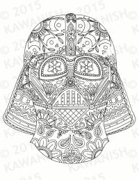 Day of the dead darth vader mask adult coloring page gift ...