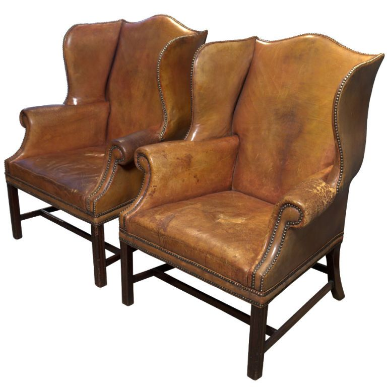 studded dining room chairs wheelchair clearance pair of english leather wingback | chair, and