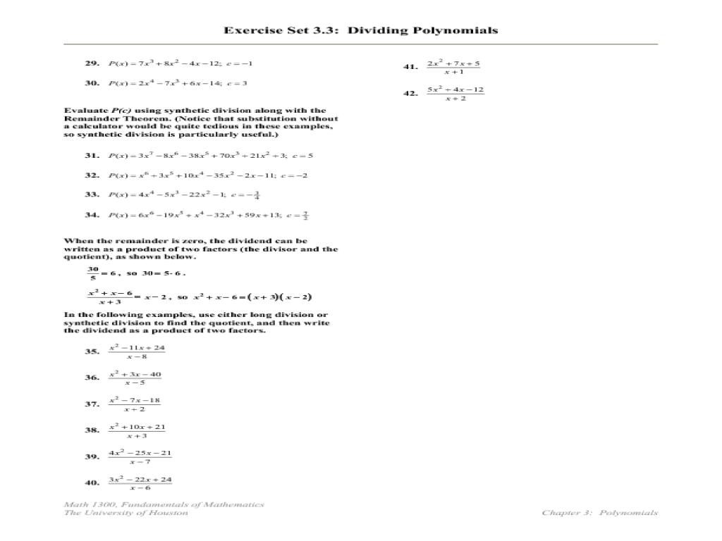 Printables Dividing Polynomials By Monomials Worksheet