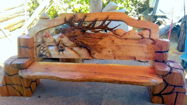 Chainsaw Carved Wood Benches Elk Carving