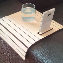 Sofa Arm Tray Wood Dania Leather Sofas Laser Cut Table Tv With Stand