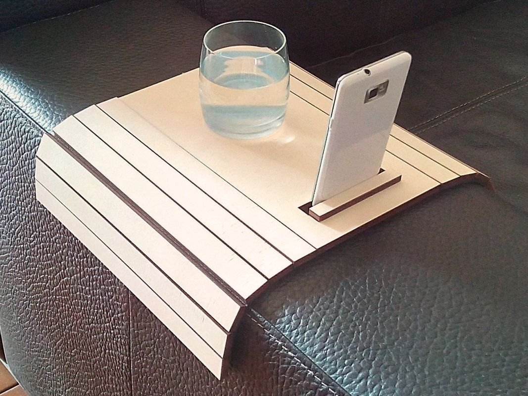 sofa arm rest tray crate and barrel davis sleeper laser cut wood table tv with stand