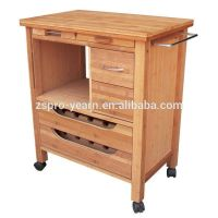 Wood Kitchen Service Trolley Cart With 4 Tiers 2 Drawers 2 ...