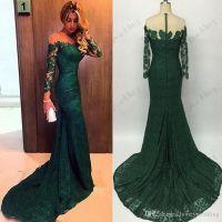 hot sale 2016 Emerald Green Mermaid Lace Evening Dresses ...