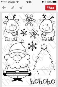 Papa Noel y renos para colorear   Patrones para colorear ...