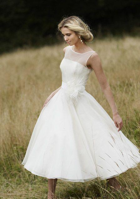 Vintage Chic Kurz Organza Brautkleid Hochzeitskleid Wedding