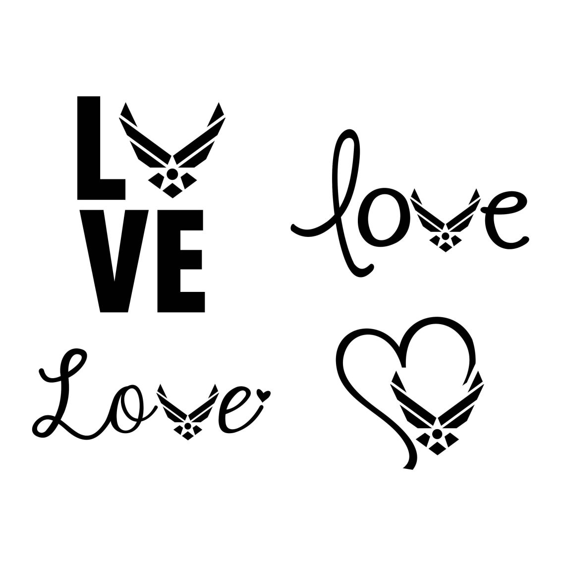 Download Us Air Force Love Heart Set Pack Graphics SVG Dxf EPS Png ...